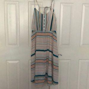 LC Lauren Conrad Teal Aqua Striped Dress